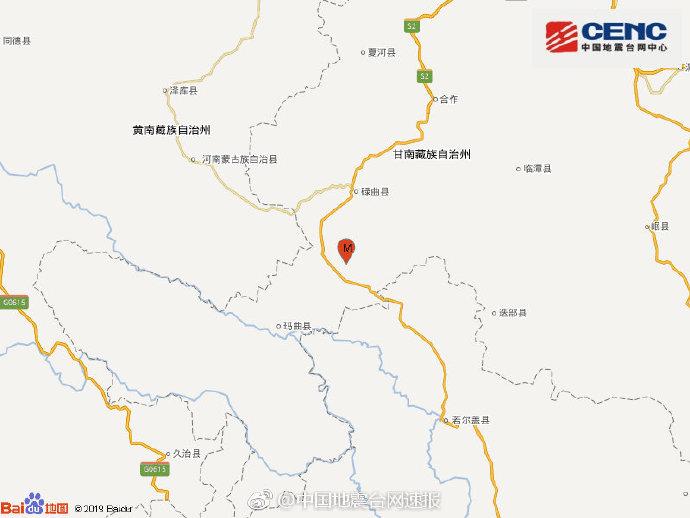 地震最新消息:今天甘肃甘南州碌曲县发生3.1级地震 震源深度10千米