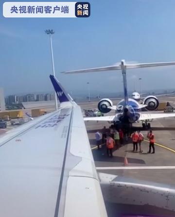 重庆机场两客机停机坪内发生剐蹭 无人员受伤