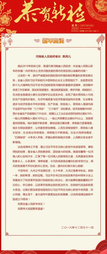 河南省人民政府省长陈润儿发表2019新年贺词