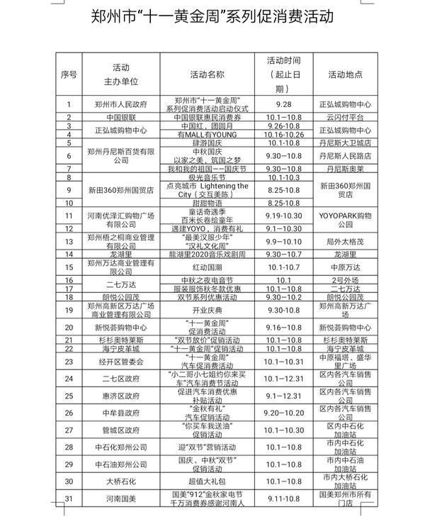 官方发布!郑州十一假期吃喝玩乐系列活动来了,附各商场促销详情